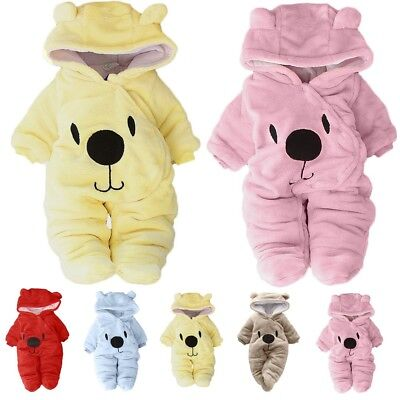 Newborn Baby Girl Boy Flannel Bear Velvet Hooded Thick Jumpsuit Romper Coat