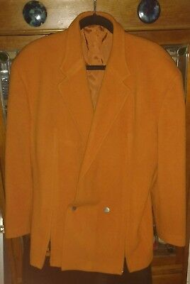 Vintage Claude Montana Orange Wool Single Button Suit Jacket Sz 50 Made In Italy