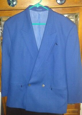 Vintage Claude Montana Blue Virgin Wool Single Button Jacket Sz 50 Made In Italy