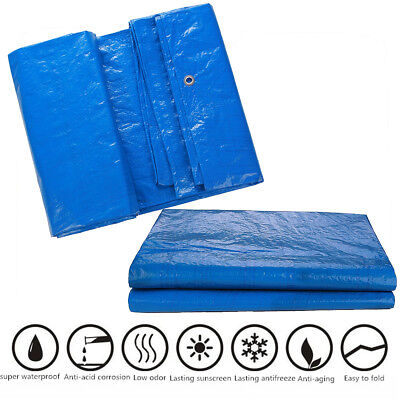 Waterproof Tarpaulin Ground Sheet Lightweight Camping Cover Tarp w/ Eyelets Bule