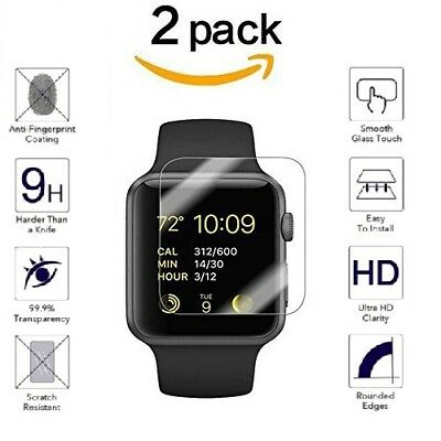 For Apple Watch Series 4/3/2/1 HD 9H Tempered Glass Screen Protector Film 2PK