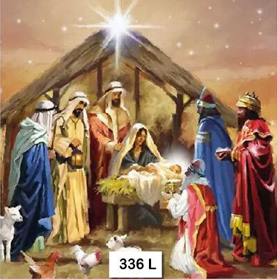 (336) TWO Individual Paper Luncheon Decoupage Napkins - NATIVITY CHRISTMAS JESUS