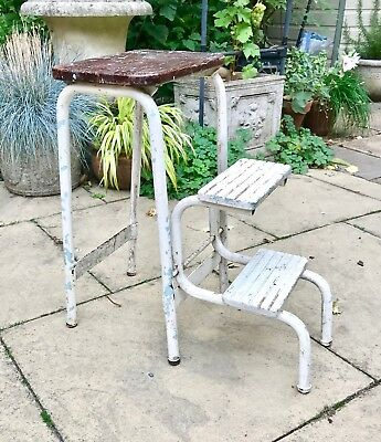 Original retro wooden topped tubular steel step stool - restoration project