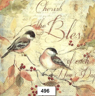(496) TWO Individual Paper Luncheon Decoupage Napkins - BIRDS AUTUMN BERRIES