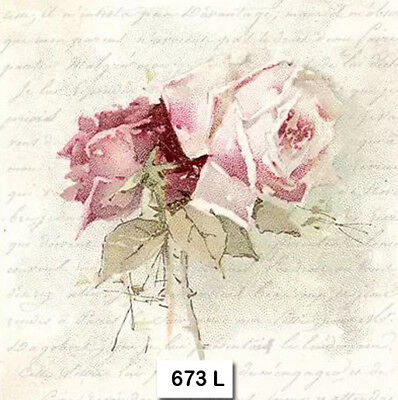 (673) TWO Individual Paper Luncheon Decoupage Napkins - ROSES, FLOWERS SAGEN