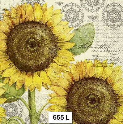 (655) TWO Individual Paper Luncheon Decoupage Napkins - SUNFLOWERS FLOWERS