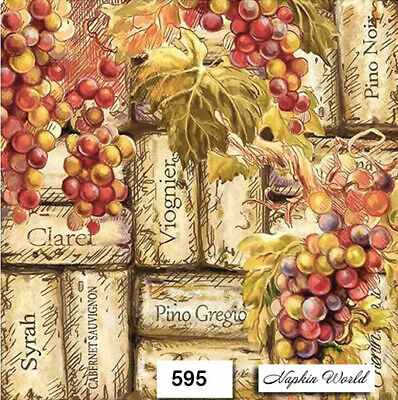 (595) TWO Individual Paper Luncheon Decoupage Napkins - WINE, CORKS, GRAPES