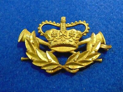 Genuine Antique Gpo Postman's Crown And Post Horns Brass Cap Badge 1