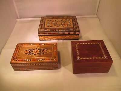 3 vintage inlaid wooden boxes
