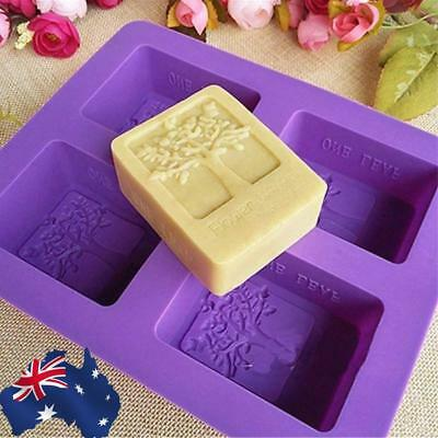 AU! 4-Cavity Tree Silicone Mold Cake Soap Mould Cookie Chocolate Mold DIY Baking