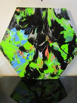 original authentic abstract HAND PAINTED SIGNED Hexagon  canvas musk yai (30cm)