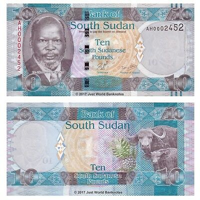 South Sudan 10 Pounds ND 2011 P-7 Low Serial Number Banknotes UNC