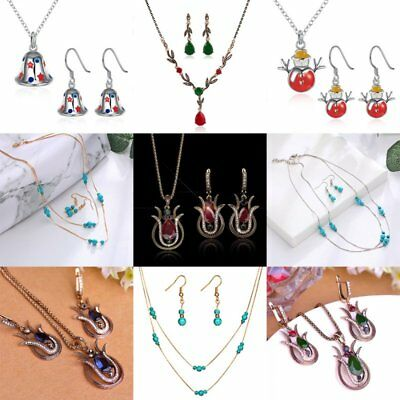 Retro Crystal Turquoise Flower Snowman Pendant Necklace Earrings Jewelry Set Hot