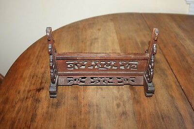 Antique Chinese Hand-Carved Mirror Picture Stand Holder with Fretwork