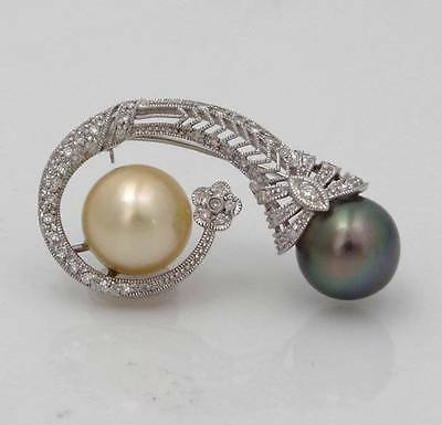 14k WHITE GOLD VINTAGE CHAMPAGNE BLACK TAHITIAN PEARL 3/4ct DIAMOND BROOCH 1.75""