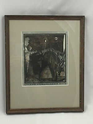 Vintage Framed Matted Print Of Bridge W/ Lanterns Over Water At Nighttime-Look