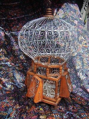 vintage victorian decorative bird cage birdcage wire wood retro lantern ornament