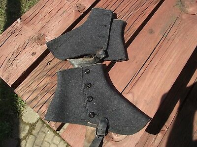 Pair Of Vintage Wool Lady's Button Up Shoe Spats, Size 9