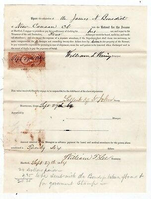 1864 Retreat for the Insane Document Hartford, Connecticut