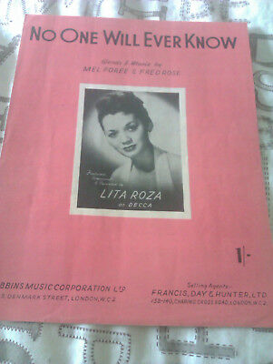 Lita Roza Sheet Music* No One Will Ever Know In Excellent Condition