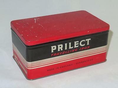 Vintage PRILECT TRAVELLING IRON 1950s in Original Tin Box T Price & Son B'ham