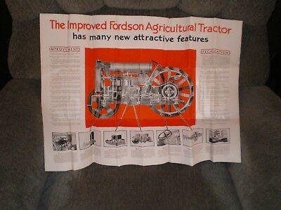 1920s or 1930s Fordson Tractor Implements Farm Brochure Specifications Poster