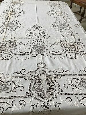 Italian Tablecloth Fine Embroidered Linen W/Needle/Filet lace Cartouches*HUGE