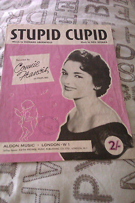Connie Francis Stupid Cupid Song Sheet In Good Condition. 50's Rock 'n' Roll