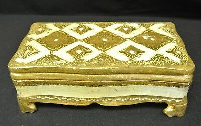 Vtg Florentine Italian Gilded Gold Tole Footed Wood Trinket Vanity Jewelry Box