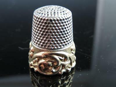 Antique Ketcham & McDougall Ornate Gold Band Repousse Sterling Silver Thimble