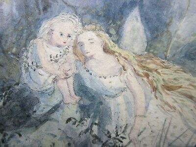 RARE Antique FAIRY Painting c.1880 - CHILDREN Looking at FAIRIES in WOODLAND