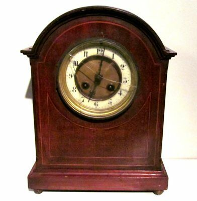 Vintage Late Victorian Japy Freres Mahogany & Brass Mantel Clock Inlay Satinwood
