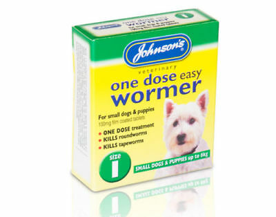 Johnsons One Dose Easy Wormer Dog Worming Tablets Small Dogs & Puppies Size 1