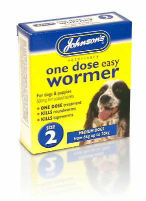 Johnsons One Dose Easy Wormer Dog Worming Tablets Size 2 Medium Dogs Up to 20KG