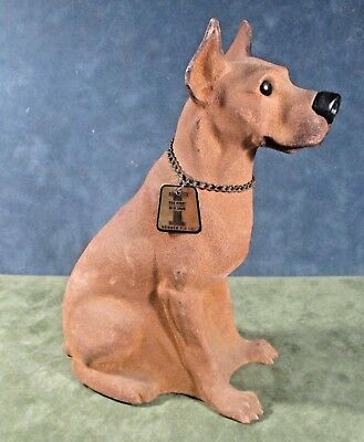 "Vintage large breed dog coin bank plastic w flocked brown fur 8.5""x6"" ᵛ"