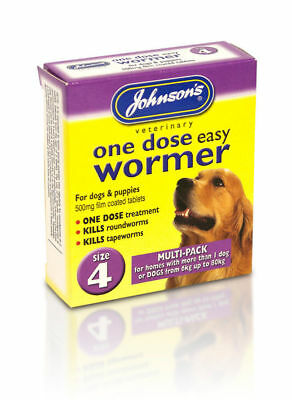Johnsons One Dose Easy Roundworm Wormer Worming Tablets Large Dogs 6kg - 80kg