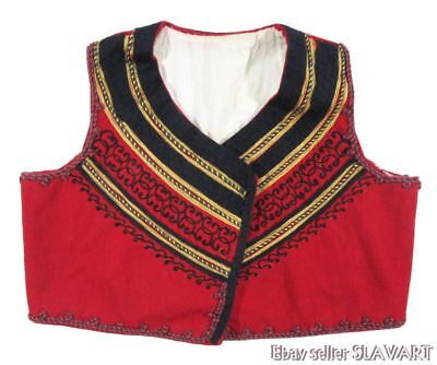 Albanian folk costume vest red wool ethnic clothing Balkan military uniform gold