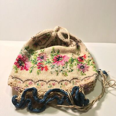 (Vintage, Flower) Beaded, Hand- Weaved Evening Bag / Pouch