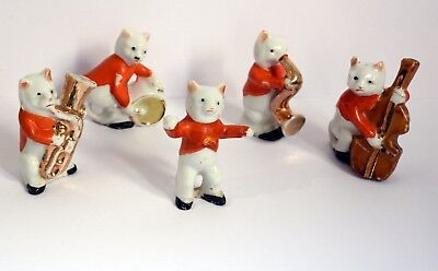 Wonderful Original Vintage Jazz Band of Miniature Ceramic Cats. Music Felines