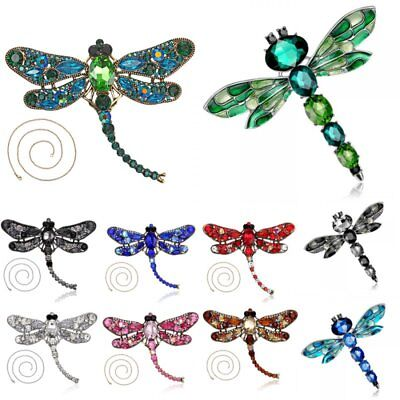 Fashion Women Crystal Animal Dragonfly Necklace Breastpin Brooch Pin Jewelry New