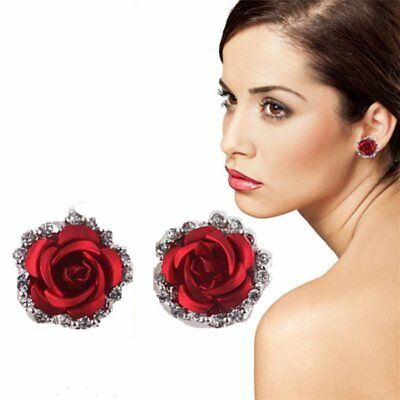 Chic Rose Flower Crystal Clip-On Earrings Women Jewellery Mother's Day Gift New