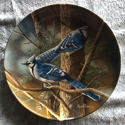 Edwin Knowles collector bird plates - Blue Jay and Cedar Waxwing