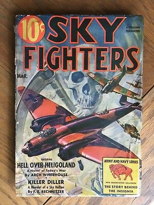 Sky Fighters - US vintage Pulp Magazine - March 1940 - Skull cover