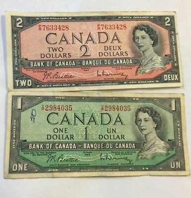 Lot Of 1954 2 Bank Of Canada Paper Notes $1 And $2   -J69