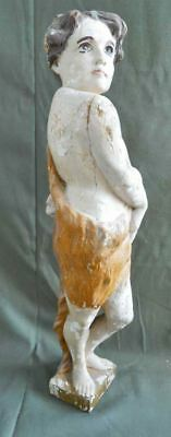 Cherub Antique Carved Wood Polychrome Putti Painted Carving Statue Nude Boy