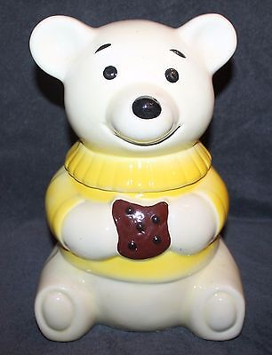 Nice Vintage Teddy Bear Yellow Sweater Eating Cookie Ceramic Cookie Jar 12""
