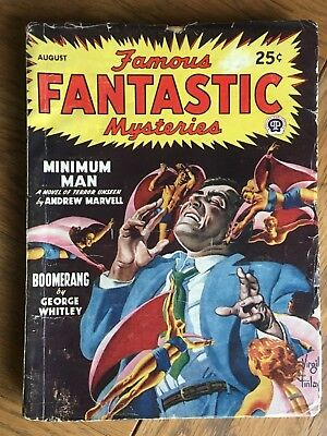 Famous Fantastic Mysteries - US vintage SF Pulp - Aug 1947 - Virgil Finlay cover