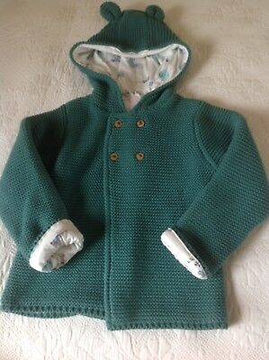 M&S Baby Knitted hooded Coat Jacket Cardigan 18-24 Months Bnwt