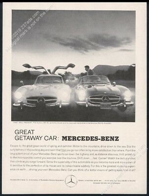 1960 Mercedes Benz 300SL 300 SL gullwing and roaster photo vintage print ad