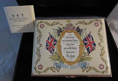 Enamel Lg Halcyon Days The Queen's Diamond Jubilee God Save the Queen w/ Box